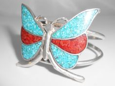 Southwest Sterling Crushed Turquoise by Libbysmomsvintage on Etsy