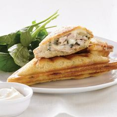 Get creative with your jaffle maker recipes. This recipe idea is a delicious way to use leftover roast chicken. Great for lunch or a light dinner. Burger Buns, Burgers, Sandwich Maker Recipes, Make Your Own Cookbook, Tea Cakes, Wrap Sandwiches, Turkey Recipes, How To Cook Chicken, Basil