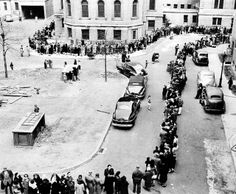 In April 1947, people stand in line waiting to be inoculated against smallpox at the Morrisania Hospital in New York.