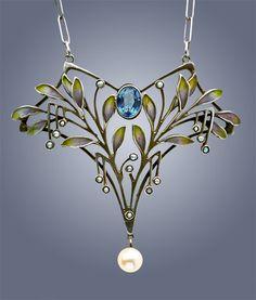 LEVINGER & BISSINGER Jugendstil Pendant Silver Plique-à-jour Pearl Marks: 'HL' monogram '900' & 'Depose' German, c.1900