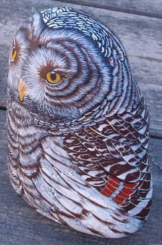 "Beautifully detailed Barn Owl, standing almost a full foot high.imagine creating something so beautiful and having someone looking at it say.""you've painted over a perfectly good rock. Painted Rocks Owls, Owl Rocks, Painted Stones, Rock And Pebbles, Rock Painting Ideas Easy, Gourd Art, Owl Art, Rock Crafts, Cool Paintings"