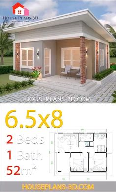 Plans petite maison moderne House Design Plans with 2 Bedrooms Shed Roof Tapping Your Child's Small House Layout, Modern Small House Design, Small House Interior Design, Small Modern Home, Simple House Design, House Layouts, House Front Design, Small House Interiors, Small Home Plans