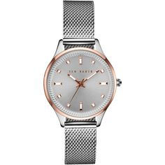 Ted Baker TE10031190 Women's Zoe Bracelet Strap Watch, Silver (235 AUD) ❤ liked on Polyvore featuring jewelry, watches, silver wrist watch, sports watches, sport watches, silver jewellery and silver watches