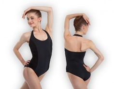 Plume's Black/Tan camisole leotard with panelled front and clear ...