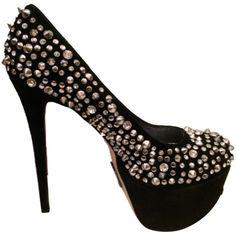 Pre-owned Ziginy New Label Brink Studded Crystals Platform Black Pumps ($170) ❤ liked on Polyvore featuring shoes, pumps, black, platform stiletto pumps, high heels stilettos, suede pumps, black stiletto pumps and black stilettos