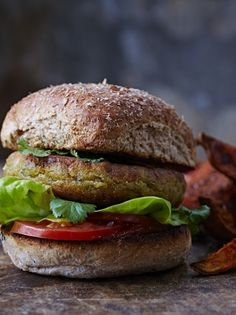 Spicy Corn & Chickpea Burgers with Sweet Potato Wedges | Jamie Oliver