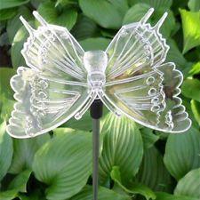 """Solar Butterfly 18"""" Tall Garden Light - White Glow"""