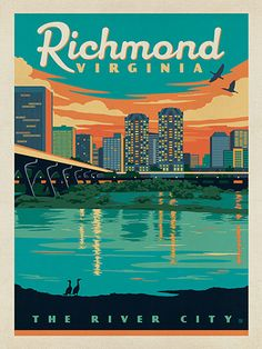 Richmond, VA - Anderson Design Group has created an award-winning series of classic travel posters that celebrates the history and charm of America's greatest cities and national parks. This print features a charming river view of the Richmond Skyline. Printed on heavy gallery-grade matte finished paper, this print will look great on any home or office wall.