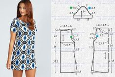 A petición de nuestra podpischitsy - el patrón del vestido Diana Diamond Print Shift Dress. El vestido en el estilo del retro, el corte simple directo, con corto vtachnymi por las mangas, el patrón a la dimensión 46 (los Dress Sewing Patterns, Sewing Patterns Free, Clothing Patterns, Free Pattern, Fabric Sewing, Skirt Patterns, Blouse Patterns, Fashion Sewing, Diy Fashion