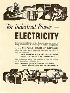 Advert for power in Shropshire by the West Midlands Joint Electricity Authority, Wolverhampton - 1935.