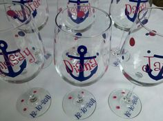 Anchor wine glasses, 6 bridesmaids gift wine glasses, nautical themed wedding or Bachelorette favor. Boat anchor glasses.
