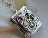 Steampunk book locket necklace - with vintage watch movement and real Swarovski crystals.