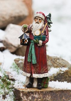 Old World Santa Lantern Christmas Decoration