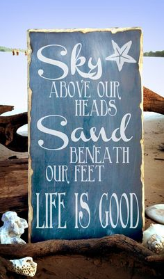 If only life was like this every day.  Sky above our heads- beach house- beachy- chalkboard on Etsy, $45.00