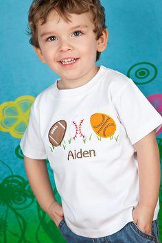 Boys Monogrammed Easter Shirt or Bodysuit, Sports Eggs, Boys Easter Shirt. $24.00, via Etsy.