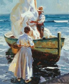 By Juan Gonzalez Alacreu Boat Painting, Painting People, Old Paintings, Beautiful Paintings, Impressionist Artists, Water Art, Spanish Artists, Art History, Cool Art