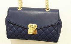 Love Moschino Borsetta tipo Chanel blu trapunta ecopelle tracolla oro jc4008