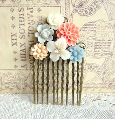 Peach Hair Comb Autumn Wedding Bridal Head Piece Bridesmaid Gift Salmon Pink Gray Blue Biege Fall Trend Warm Colors Floral Comb by Jewelsalem on Etsy https://www.etsy.com/listing/154149363/peach-hair-comb-autumn-wedding-bridal