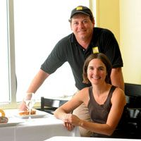 Inez and Stephen Ribustello, owners of On the Square, a restaurant in Tarboro, NC. It's a wonderful, friendly, yummy place to eat. Totally worth going out of your way for!