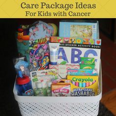 Care Package Ideas for a Child with Cancer According to St. Jude's, about children ages 14 and under are diagnosed with cancer each Hospital Care Packages, Hospital Gift Baskets, Hospital Gifts, Chemo Care Package, Cancer Care Package, Service Projects For Kids, Service Ideas, Get Well Baskets, Gifts For Cancer Patients