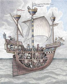 This is a 16th Century carrack sailing ship manned by animals of all kinds