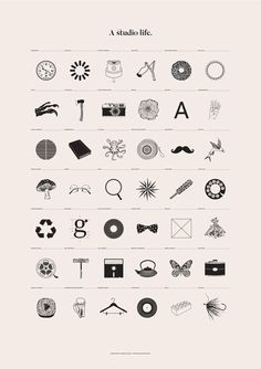 A Studio Life: A series of illustrations outlining the typical life of the design studio, from essential tools and must haves, to thoughts, visionaries and revelations. By Ashwin Patel.
