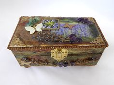 This unique lavender box is handcrafted and signed by Karen Kelleher Carneiro. A perfect home for jewelry, keepsakes or as a beautiful gift.