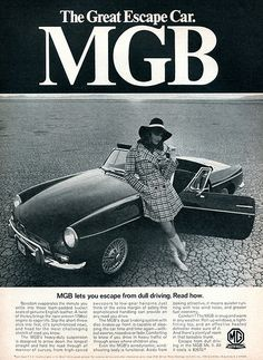 """mom was somewhat disturbed when she found this in a folder labeled """"HEIST,"""" but decided she was just proud martha had finally picked up some of her organizational prowess. repin: 1968 MGB Advertising Road & Track July 1968"""