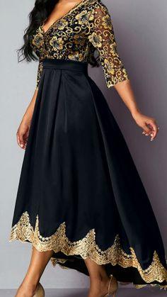 ankara mode High Waist V Neck Lace Panel Dress Elegant Dresses, Pretty Dresses, Beautiful Dresses, Simple Dresses, Sexy Dresses, African Attire, African Dress, Boho Dress, Dress Up