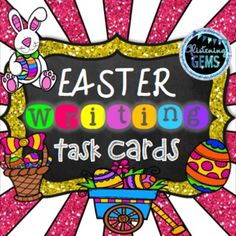 Easter Writing Task Cards - 2 sets of 20 task cards available in color or black and white.