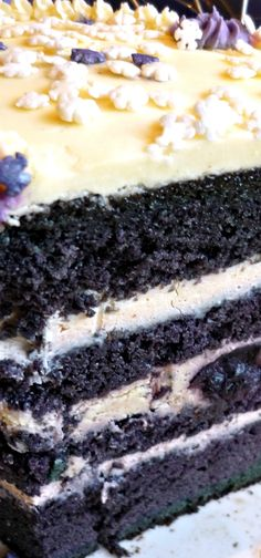 Blueberry Velvet Cake with White Chocolate Cheesecake Icing Recipe.why isn't this in my mouth already (Blueberry Cake Recipes) Just Desserts, Delicious Desserts, Dessert Recipes, Yummy Food, Awesome Desserts, Bolo Red Velvet, Blue Velvet, Kolaci I Torte, Let Them Eat Cake