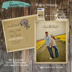 Rustic Wedding Save the Date Card  Vintage by alacartestudio, $15.00