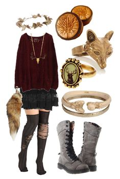 """""""gold/burgundy accented dark mori girl"""" by risaisafox ❤ liked on Polyvore featuring Jean Paul Gaultier Soleil, eliurpi, Dr. Martens and Monserat De Lucca"""