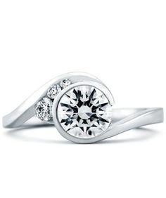 #168A 1CT - 14k white gold Escape 1.12cttw freeform bezel set round diamond engagement ring designed by Mark Schneider. This engagement ring design has a flowin