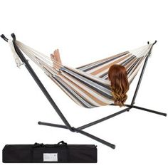 Best Choice Products Double Hammock With Space Saving Steel Stand Includes Portable Carrying Case, Desert Stripe *** Read more at the image link. (This is an affiliate link)