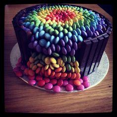 Chocolate Smarties Waterfall Cake #smarties #cake #smartiecake