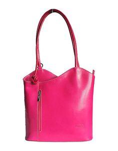 Multi-Way Bright Pink Leather Shoulder Bag/Backpack