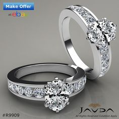 Oval Diamond Channel Set Engagement Ring GIA H VS2 Clarity 14k White Gold 1.7 ct