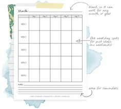 Blank monthly blog planner. #download #freebie