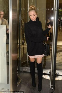 Kristin Cavallari wearing Reese + Riley Oversized Open Back Turtleneck, Reese + Riley Lacey Slip Dress and Kristin Cavallari Saffron Boots in Black Suede