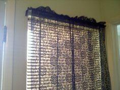 decorating vintage curtains   Vintage Black Lace Curtains 2 Panels Goth by SofiasCobwebMuseum