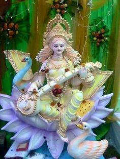 Maa Saraswati Ashtottara Shatanamavali Stotram in English Saraswati Murti, Saraswati Idol, Saraswati Statue, Saraswati Goddess, Goddess Art, Goddess Lakshmi, Saraswati Painting, Saraswati Photo, Durga Ji