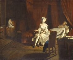 VII: Pamela in the Bedroom with Mrs Jewkes and Mr B.  Artwork details  Artist  Joseph Highmore (1692‑1780)  Date 1743-4  Medium  Oil paint on canvas  Dimensions  support: 627 x 757 mm frame: 840 x 960 x 110 mm  Collection  Tate  Acquisition  Purchased 1921  Reference  N03574