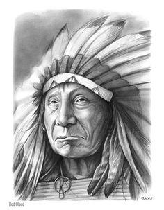 Red Cloud, America Indian Chief - Graphite Pencil Sketch by Greg Joens. www.gregjoens.com