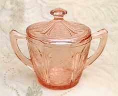 Jeannette Glass Cherry Blossom Pink Depression Glass Sugar Dish Lid