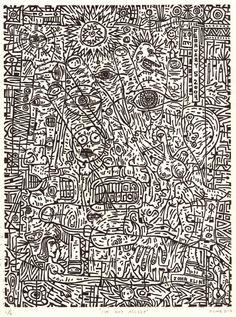I'm Not Asleep. Linocut relief print. 9 x 12 by JohnKlineArtwork, $50.00