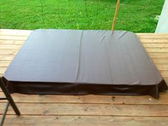 """DIY Hot tub cover. 2"""" foam insulation wrapped in vinyl."""