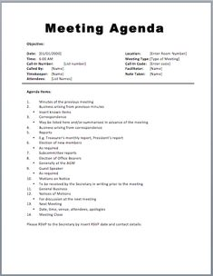 Meeting Agenda Template 1