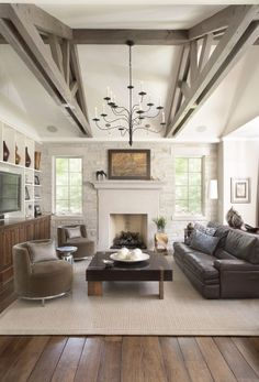 Like:  Stone wall, large mantle, fabulous swivel chair, leather couch, balance between the TV and the fireplace.