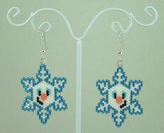 Snowman Snowflake Beaded Earrings Winter Jewelry by LazyRose